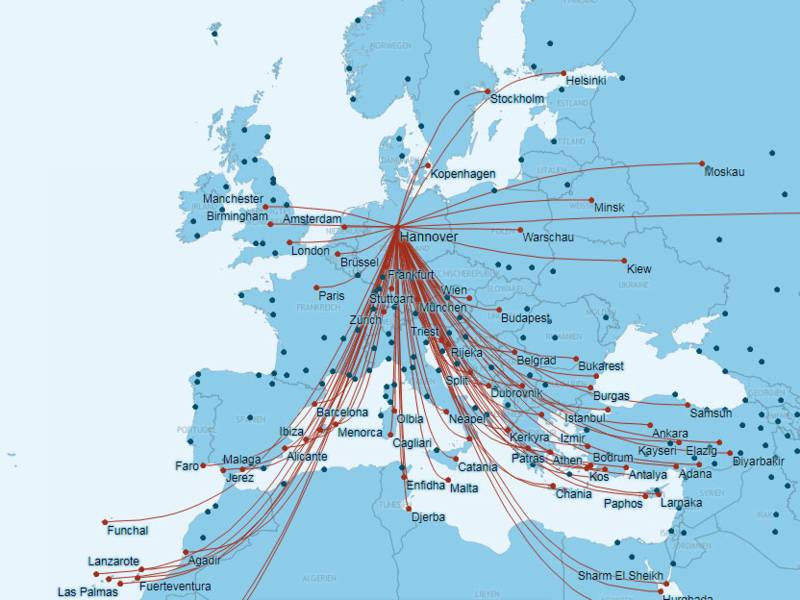 Hannover Airport - Routes