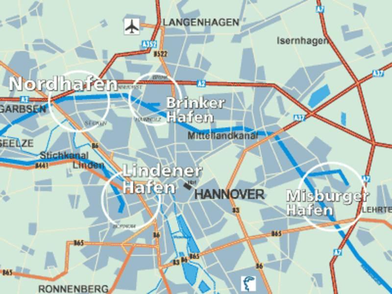 Die städtischen Häfen sind auf der Übersichtskarte von Hannover mit weißen Umrandungen markiert